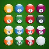 Set of billiard balls. Complete Billiard Balls. Billiard Balls vector illustration.  Isometric isolated vector Stock Images