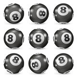 Set of billiard balls eights from different angles. Magic 8 ball. Billiards ball eight. Pool balls eight. 8 ball isolated. Black billiard ball with number royalty free illustration