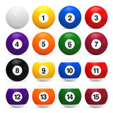 Set of Billiard Balls. Isolated on white background. 3D render Stock Images