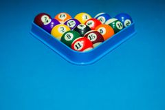 Billiard pool balls on table. Set of billiard balls in triangle. Space for copy Stock Photography