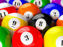 Set of billiard pool balls Stock Images