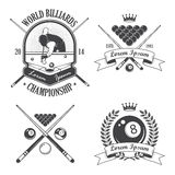 Set of billiards emblems labels. And designed elements Stock Image