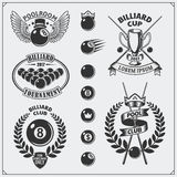 Set of billiards labels, emblems, badges, icons and design elements. Stock Photos