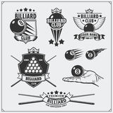 Set of billiards labels, emblems, badges, icons and design elements. Royalty Free Stock Images