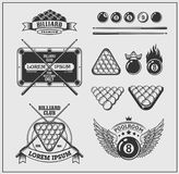 Set of billiards labels, emblems and design elements. Vector Royalty Free Stock Images