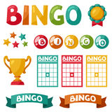 Set of bingo or lottery game balls and cards Royalty Free Stock Photo