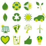Set of bio eco environmental related icons and symbols Royalty Free Stock Images