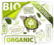 Set of bio, eco, organic elements. Labels, stickers, stamps, ribbons Royalty Free Stock Images