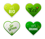 Set of bio, eco, organic heart sticker elements Royalty Free Stock Photo