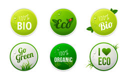 Set of bio, eco, organic sticker elements Royalty Free Stock Photos