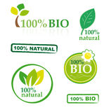 Set of bio elements. A collection of bio/natural elements with 100 per cent guarantee isolated on white Stock Image