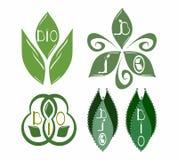 Set bio emblems. Set of five bio emblems vector illustration