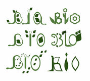 Set Bio words. Set of six Bio words with leafs and flowers royalty free illustration