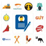 Set of biography, boston terrier, corn dog, pet groomer, barclays bank, fright night, cardinal bird, gut, durian icons. Set Of 13 simple editable icons such as Royalty Free Stock Images