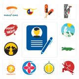Set of biography, wushu, durian, healer, 2 year warranty, croc, pack wolf, dog trainer, fright night icons. Set Of 13 simple editable icons such as biography Royalty Free Stock Image