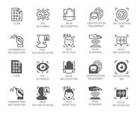 Set of biometric buttons. 10 icons in linear and glyph designs. Authorization, identification and verification symbols. Fingerprint recognition, eye and palm Stock Image