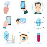 Set biometryczna nowożytna ikony technologia w różnym wyposażeniu ilustracji