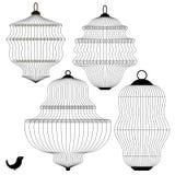 Set of Bird Cages. On White Background Stock Image