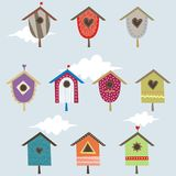 Set of bird houses. Set of 10 bird houses Royalty Free Stock Images