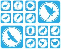 Set of bird icons. Large and detailed set of different bird icons stock illustration