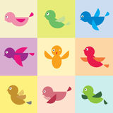 Set of bird icons. On the turnovers stock illustration