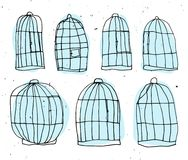 Set of Birdcages hand draw vector illustration. Bird cell sketch with light texture. Birdcage - kids drawing, children. Birdcage hand draw vector illustration Royalty Free Stock Image