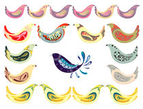 Set of birds. With patterns for decoration, vector illustration Stock Photos
