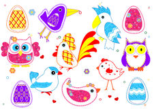 Set of birds for kids. Set of colored birds for kids Stock Photo