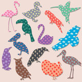 Set of birds with patterns Stock Photo