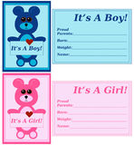Set of Birth Announcements Stock Photography