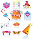 Set-Birthday. Set symbol for the holiday: birthday, Valentine's Day, anniversary, festival Stock Images