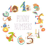 Set of Birthday Anniversary Numbers with Funny Animals. Cartoon Set Illustration of Birthday Anniversary Numbers with Funny Animals Stock Image