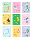 Set of Birthday Baby Cute Cards with Animal Numbers, Invitation Postcard, Flyer, Poster, Greetings Illustration. In vector vector illustration