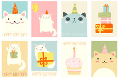 Set of birthday banners with cute cats Royalty Free Stock Photo