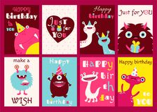 Set of birthday banners with cute monsters Stock Photography