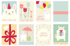 Set of birthday banners with cute rabbits Stock Photo