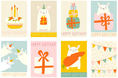 Set of birthday banners with cute rabbits Stock Images