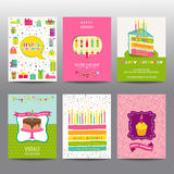 Set of Birthday Brochures and Cards. Colorful layouts - in vector royalty free illustration