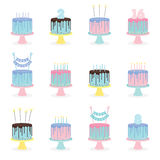 Set of birthday cakes with candles and decoration