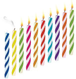 Set of birthday candles. New, extinct, burning cand Royalty Free Stock Photos