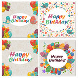 Set of Birthday card with cute birds,flowers and balloons,Ice Cream gifts. Set of Birthday card with cute birds with flowers and balloons,Ice Cream gifts Royalty Free Stock Photo