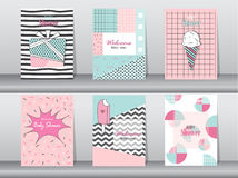 Set of birthday card on retro pattern design,vintage,poster,template,greeting,Vector illustrations Royalty Free Stock Image