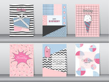 Set of birthday card on retro pattern design,vintage,poster,template,greeting,Vector illustrations Royalty Free Stock Photography