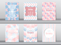 Set of birthday card on retro pattern design,vintage,poster,template,greeting,Vector illustrations Stock Photos