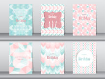 Set of birthday card on retro pattern design,vintage,poster,template,greeting,Vector illustrations Royalty Free Stock Photos