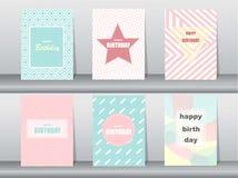 Set of birthday card on retro pattern design,vintage,poster,template,greeting,Vector illustrations Stock Illustration