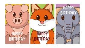 Set of birthday cards with animals. Cartoon vector illustration graphic design royalty free illustration