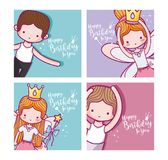 Set of birthday cards with ballet dancers. Vector illustration graphic design royalty free illustration