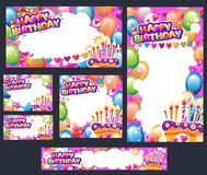 Set of Birthday cards with place for text stock image
