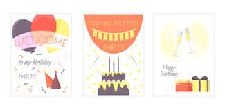 Set of birthday cards with a cake, glasses of champagne, balloons. Vector illustration. stock illustration